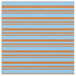 [ Thumbnail: Chocolate & Light Sky Blue Lines/Stripes Pattern Fabric ]