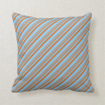 [ Thumbnail: Chocolate & Light Sky Blue Lines/Stripes Pattern Throw Pillow ]