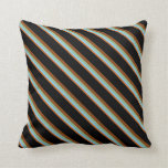 [ Thumbnail: Chocolate, Light Sky Blue, Sea Green, Brown, Black Throw Pillow ]
