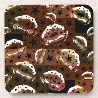 Chocolate Lips Stars Drink Coaster
