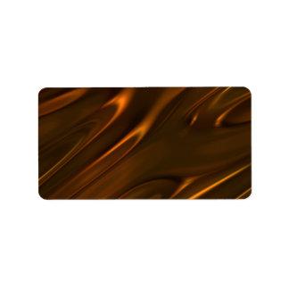 Chocolate líquido derretido caliente texturizado etiquetas de dirección