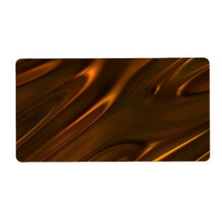Chocolate líquido derretido caliente texturizado etiquetas de envío