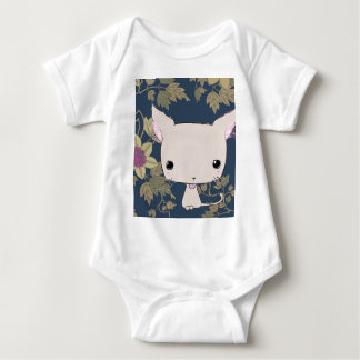 Chocolate lolkitty (navy blue clematis print) infant creeper