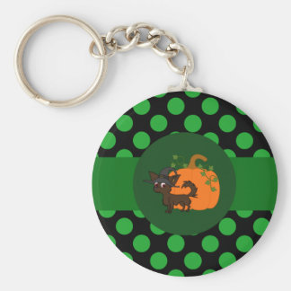 Chocolate Long Hair Chihuahua with Pumpkin & Dots Basic Round Button Keychain
