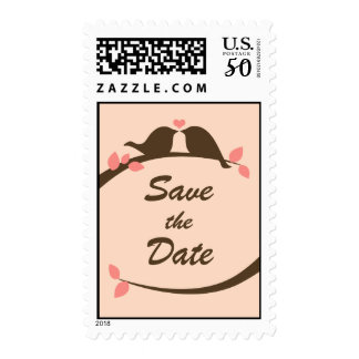 Chocolate Love Birds Save the Date Postage