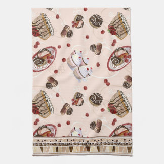 Chocolate Love Cupcakes Candy Mousse Strawberry Kitchen Towels