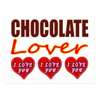 Chocolate Lover with I Love You chocolates Postcard