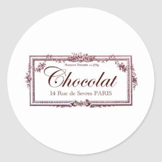 Chocolate lovers .... love this vintage French art Classic Round Sticker