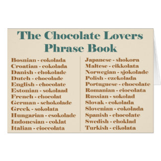 Chocolate Lovers Phrase Book Card