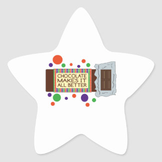 Chocolate Makes It All Better Star Stickers