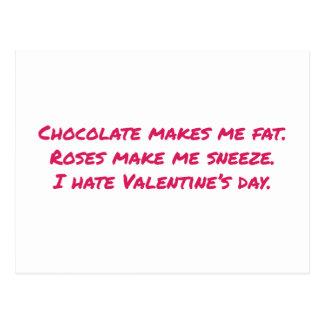 Chocolate Makes Me Fat, Flowers Make Me Sneeze, Postcard