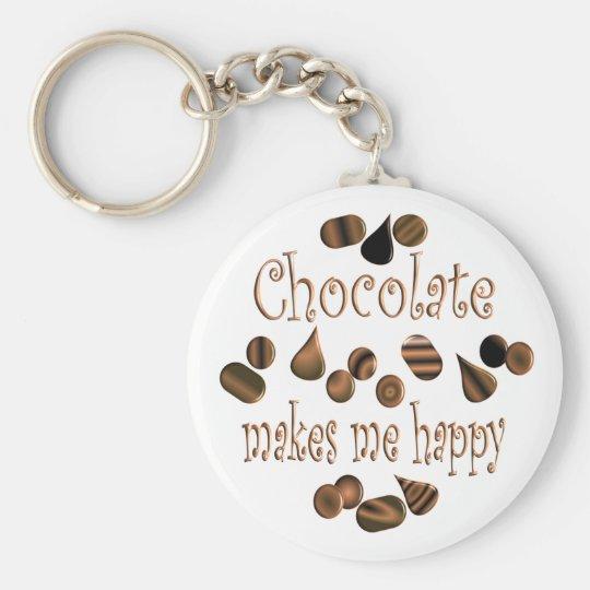 Chocolate Makes Me Happy Keychain