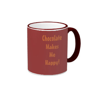 Chocolate Makes Me Happy Ringer Mug
