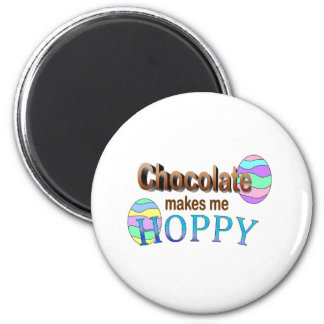 Chocolate Makes Me Hoppy 2 Inch Round Magnet