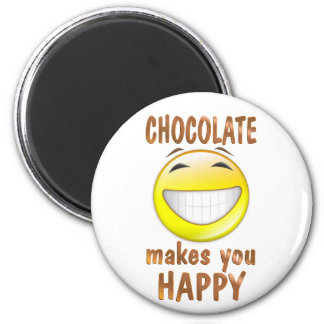 Chocolate Makes You Happy 2 Inch Round Magnet