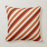 [ Thumbnail: Chocolate, Maroon, Brown, Light Grey & Mint Cream Throw Pillow ]