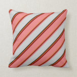 [ Thumbnail: Chocolate, Maroon, Light Coral, Light Gray & Black Throw Pillow ]