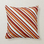 [ Thumbnail: Chocolate, Maroon & Light Cyan Pattern Pillow ]