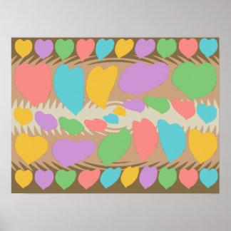 Chocolate Marshmallow Heart Swirl Pattern Poster