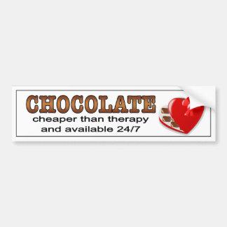 Chocolate, más barato que terapia.  etiqueta engom pegatina para auto