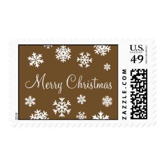 Chocolate Merry Christmas Snowflakes Postage
