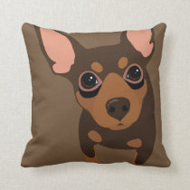 Chocolate Min Pin Owner Throw Pillow