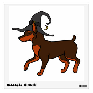 Chocolate Miniature Pinscher with Witch Hat Wall Skins