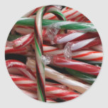 Chocolate Mint Candy Canes Classic Round Sticker