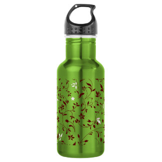 Chocolate Mint Floral 18oz Water Bottle