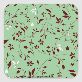 Chocolate Mint Floral Square Sticker