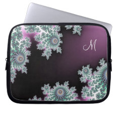 Chocolate Mint Fractal Monogram Laptop Sleeve