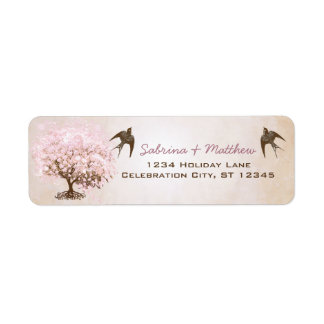 Chocolate Misty Pink Heart Leaf Tree Love Birds Label