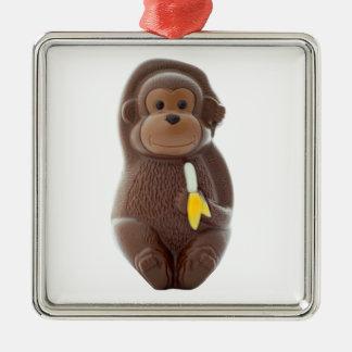 Chocolate Monkey Metal Ornament