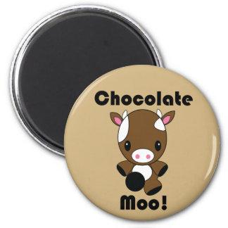 Chocolate Moo Kawaii Cow 2 Inch Round Magnet