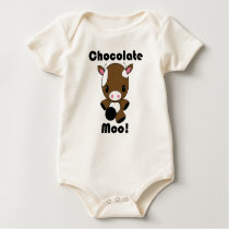 Chocolate Moo Kawaii Cow Baby Bodysuit