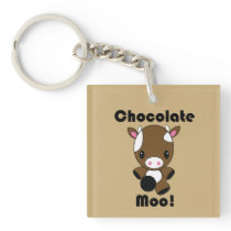 Chocolate Moo Kawaii Cow Keychain