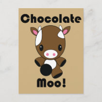 Chocolate Moo Kawaii Cow Postcard