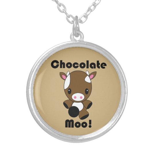 Chocolate Moo Kawaii Cow Silver Plated Necklace