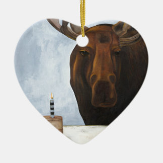 Chocolate Moose Double-Sided Heart Ceramic Christmas Ornament