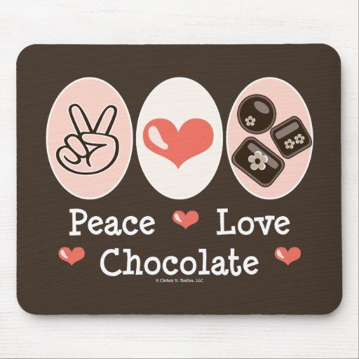 Chocolate Mousepad del amor de la paz Tapetes De Ratones