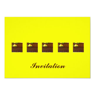Chocolate mud cake with yellow background card
