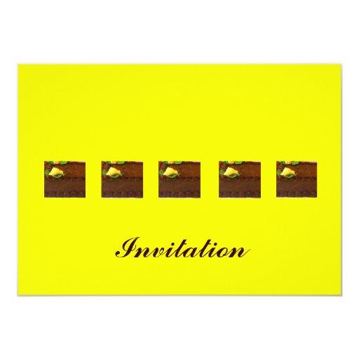 Chocolate mud cake with yellow background card