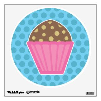 Chocolate Muffin Wall Decal Blue Polka Dots