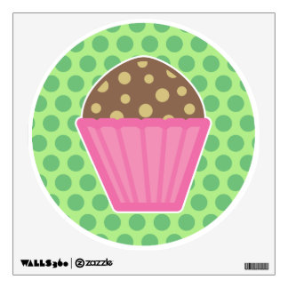 Chocolate Muffin Wall Decal Green Polka Dots