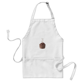 Chocolate muffin with birthday candle for three adult apron