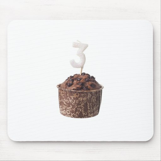 Chocolate muffin with birthday candle for three mouse pad