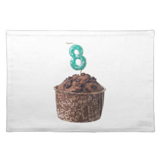 Chocolate muffin with candle for eight year old placemat
