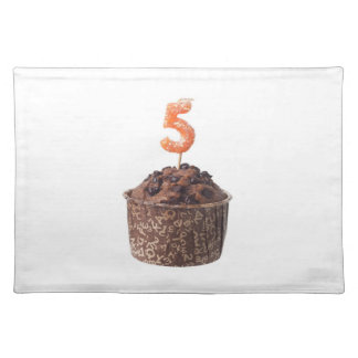 Chocolate muffin with candle for five year old placemat