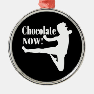 Chocolate Now - White Silhouette Metal Ornament