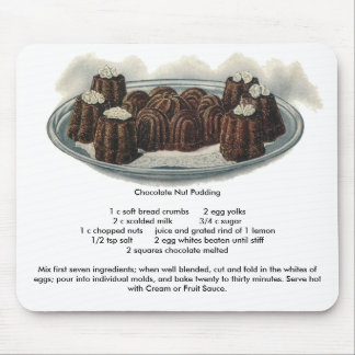 Chocolate Nut Pudding Vintage Dessert Mouse Pad